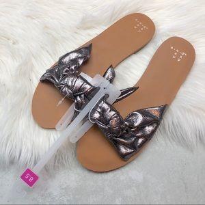 544f98efa Nelora Metallic Knotted Slide Sandals